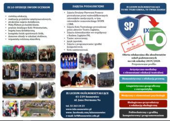Ulotka informacyjna dla kandydatów do IX Liceum Ogólnokształcącego po szkole podstawowej