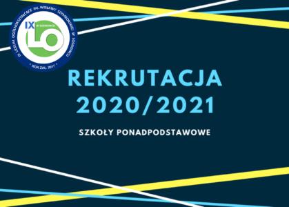 Grafika z napisem Rekrutacja 2020/2021